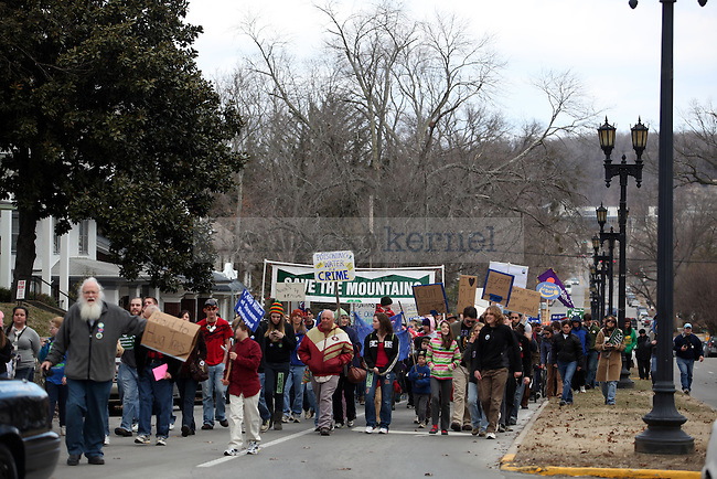 """Protestors march to the capitol building for  the """"I Love Mountains"""" rally at the capitol building in Frankfort on Valentine's Day.  Photo by Britney McIntosh   Staff"""