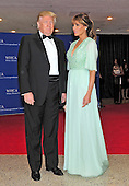 Donald and Melania Trump arrives for the 2015 White House Correspondents Association Annual Dinner at the Washington Hilton Hotel on Saturday, April 25, 2015.<br /> Credit: Ron Sachs / CNP