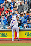 11 April 2012: New York Mets first baseman Ike Davis makes a catch in foul territory during game action against the Washington Nationals at Citi Field in Flushing, New York. The Nationals shut out the Mets 4-0 to take the rubber match of their 3-game series. Mandatory Credit: Ed Wolfstein Photo
