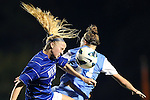 18 October 2012: Duke's Erin Koballa (14) and UNC's Hanna Gardner (71). The University of North Carolina Tar Heels defeated the Duke University Blue Devils 2-0 at Koskinen Stadium in Durham, North Carolina in a 2012 NCAA Division I Women's Soccer game.