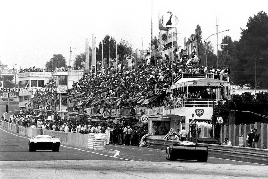LE MANS, FRANCE - JUNE 16: A car heads into the pit lane during the 24 Hours of Le Mans FIA World Sports Car Championship race at the Circuit de la Sarthe in Le Mans, France on June 16, 1985.
