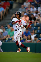 Richmond Flying Squirrels Johneshwy Fargas (8) at bat during an Eastern League game against the Binghamton Rumble Ponies on May 29, 2019 at The Diamond in Richmond, Virginia.  Binghamton defeated Richmond 9-5 in ten innings.  (Mike Janes/Four Seam Images)