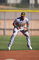 Oakland Athletics Edwin Diaz (13) during an instructional league game against the Los Angeles Angels on October 9, 2015 at the Tempe Diablo Stadium Complex in Tempe, Arizona.  (Mike Janes/Four Seam Images)