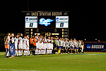 GREENSBORO, NC - DECEMBER 02: Messiah College and North Park University players assemble at midfield prior to the Division III Men's Soccer Championship held at UNC Greensboro Soccer Stadium on December 2, 2017 in Greensboro, North Carolina. Messiah College defeated North Park University 2-1 to win the national title. (Photo by Grant Halverson/NCAA Photos via Getty Images)