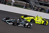 May 28th Indianapolis Speedway, Indiana, USA;  Josef Newgarden, driver of the #2 Team Penske Chevrolet, battles for position with Simon Pagenaud, driver of the #1 Team Penske Chevrolet, during the Indianapolis 500 on May 28th, 2017, at the Indianapolis Motor Speedway in Indianapolis, Indiana.