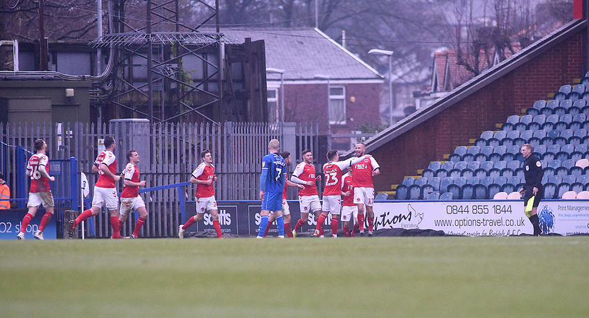 Fleetwood Town celebrates Paddy Madden scoring the opening goal <br /> <br /> Photographer Hannah Fountain/CameraSport<br /> <br /> The EFL Sky Bet League One - Rochdale v Fleetwood Town - Saturday 19 January 2019 - Spotland Stadium - Rochdale<br /> <br /> World Copyright © 2019 CameraSport. All rights reserved. 43 Linden Ave. Countesthorpe. Leicester. England. LE8 5PG - Tel: +44 (0) 116 277 4147 - admin@camerasport.com - www.camerasport.com