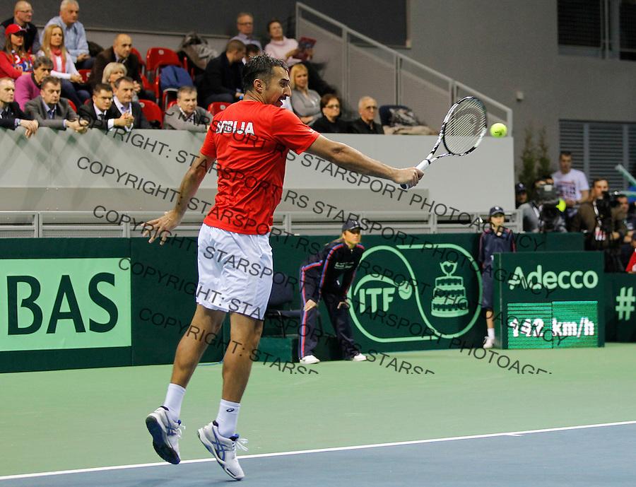 Davis Cup 2014 first round<br /> Srbija v Hrvatska<br /> Novak Djokovic and Nenad Zimonjic-Serbia v Franko Skugor and Marin Draganja doubles dublovi<br /> Nenad ZImonjic in action<br /> Kraljevo, 07.03.2015.<br /> Foto: Srdjan Stevanovic/Starsportphoto.com&copy;