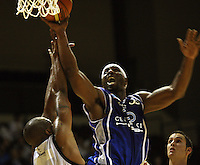 Saints forward Damon Thornton lays up during the NBL Round 2 basketball match between the Wellington Saints and Nelson Giants at TSB Bank Arena, Wellington, New Zealand on Thursday 19 March 2009. Photo: Dave Lintott / lintottphoto.co.nz