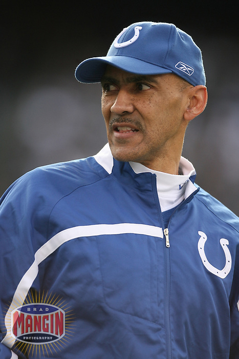 OAKLAND, CA - Portrait of head coach Tony Dungy of the Indianapolis Colts during a game against the Oakland Raiders at McAfee Coliseum in Oakland, California on December 16, 2007. The Colts beat the Raiders 21-14. Photo by Brad Mangin