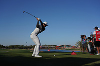 Haotong Li (CHN) on the 18th tee during Round 3 of the Abu Dhabi HSBC Championship at the Abu Dhabi Golf Club, Abu Dhabi, United Arab Emirates. 18/01/2020<br /> Picture: Golffile | Thos Caffrey<br /> <br /> <br /> All photo usage must carry mandatory copyright credit (© Golffile | Thos Caffrey)