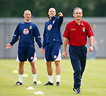 George Burley takes some stick from Alan Hutton and Kenny Miller