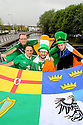 TO GO WITH STORY BY HENRY MCDONALD NORTHERN IRELAND & REPUBLIC OF IRELAND SOCCER FANS:  Newry's Irish Republic soccer fans - Barry Lynch, Michael Lynch, Chris Elliott and Mark Quinn pose for a photo for their departure for France next month.  Photo/Paul McErlane