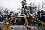February 22, 2015. Kiev, Ukraine. People gathered at St. Michael sqare to see the pieces of russian military equipment ukrainian army seized in Donbas as a proof of russian involvement in the region. Credits: Niels Ackermann / Rezo.ch
