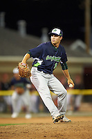Vermont Lake Monsters pitcher Jared Lyons (16) delivers a pitch during a game against the Batavia Muckdogs August 9, 2015 at Dwyer Stadium in Batavia, New York.  Vermont defeated Batavia 11-5.  (Mike Janes/Four Seam Images)