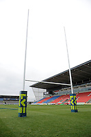 20130310 Copyright onEdition 2013©.Free for editorial use image, please credit: onEdition..LV= branded post wraps before the LV= Cup semi final match between Sale Sharks and Saracens at the Salford City Stadium on Sunday 10th March 2013 (Photo by Rob Munro)..For press contacts contact: Sam Feasey at brandRapport on M: +44 (0)7717 757114 E: SFeasey@brand-rapport.com..If you require a higher resolution image or you have any other onEdition photographic enquiries, please contact onEdition on 0845 900 2 900 or email info@onEdition.com.This image is copyright onEdition 2013©..This image has been supplied by onEdition and must be credited onEdition. The author is asserting his full Moral rights in relation to the publication of this image. Rights for onward transmission of any image or file is not granted or implied. Changing or deleting Copyright information is illegal as specified in the Copyright, Design and Patents Act 1988. If you are in any way unsure of your right to publish this image please contact onEdition on 0845 900 2 900 or email info@onEdition.com