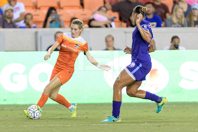 Houston, TX - Saturday Sept. 03, 2016: Kealia Ohai, Toni Pressley during a regular season National Women's Soccer League (NWSL) match between the Houston Dash and the Orlando Pride at BBVA Compass Stadium.