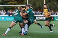 Tom Denton of Ealing Trailfinders (centre) during the Greene King IPA Championship match between Ealing Trailfinders and London Irish Rugby Football Club  at Castle Bar, West Ealing, England  on 1 September 2018. Photo by David Horn.