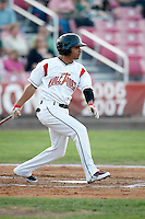 Julio Izturis, 2010 Salem-Keizer Volcanoes, playing here against the Eugene Emeralds at Volcanoes Stadium in Keizer, OR - 09/03/2010.Photo by:  Bill Mitchell/Four Seam Images..
