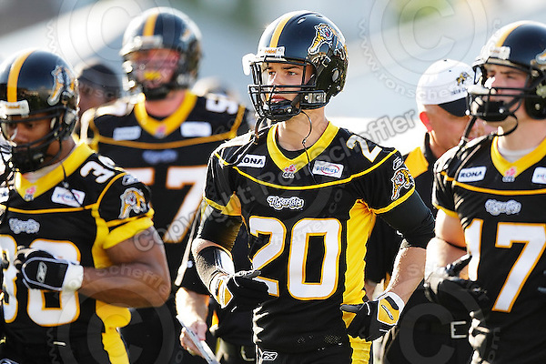 June 23, 2009; Hamilton, ON, CAN; Hamilton Tiger-Cats defensive back Dylan Barker (20). CFL football: Toronto Argonauts vs. Hamilton Tiger-Cats at Ivor Wynne Stadium. The Argos defeated the Tiger-Cats 27-17. Mandatory Credit: Ron Scheffler. Copyright (c) 2009 Ron Scheffler.