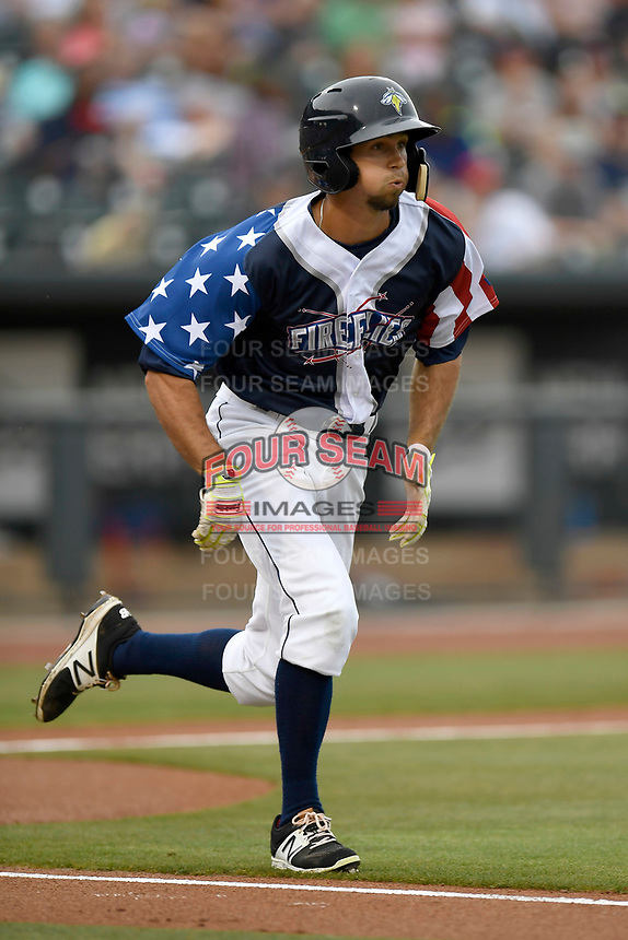Center fielder Jacob Zanon (21) of the Columbia Fireflies runs out a batted ball in a game against the Rome Braves on Monday, July 3, 2017, at Spirit Communications Park in Columbia, South Carolina. Columbia won, 1-0. (Tom Priddy/Four Seam Images)