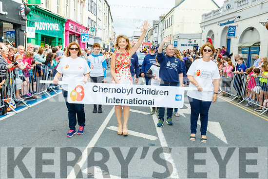 Adi Roche leads the Chernobyl Children International group at the Rose parade on Sunday..