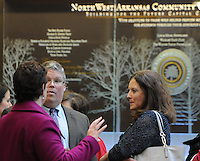 NWA Media/ J.T. Wampler - Diana Johnson, from the left,   Ricky Thompson and Lisa Anderson visit at Northwest Arkansas Community College in Bentonville, Wednesday Dec. 3, 2014 during an open house at the school. NWACC hosted the open house event as part of a statewide emphasis known as Community College Work$. A proclamation by Gov. Mike Beebe declaring Dec. 1-5 as Community College Work$ Week states that the special celebration promotes community colleges in Arkansas by increasing public awareness of each college's mission and vital role in meeting local economic development and workforce needs.