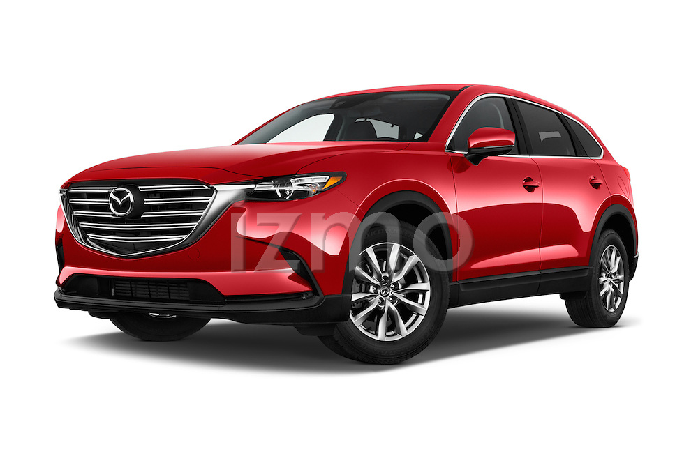 Stock pictures of low aggressive front three quarter view of 2016 Mazda CX-9 Touring-FWD 5 Door SUV Low Aggressive
