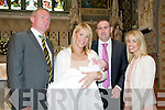 Baby Aideen Buckley with her parents John James & Karen Buckley Listowel  & god parents Paudie Buckley Niamh Dunne who was christened in St Mary's Church, Listowel  by Canaon Declan O'Connor on Sunday last.
