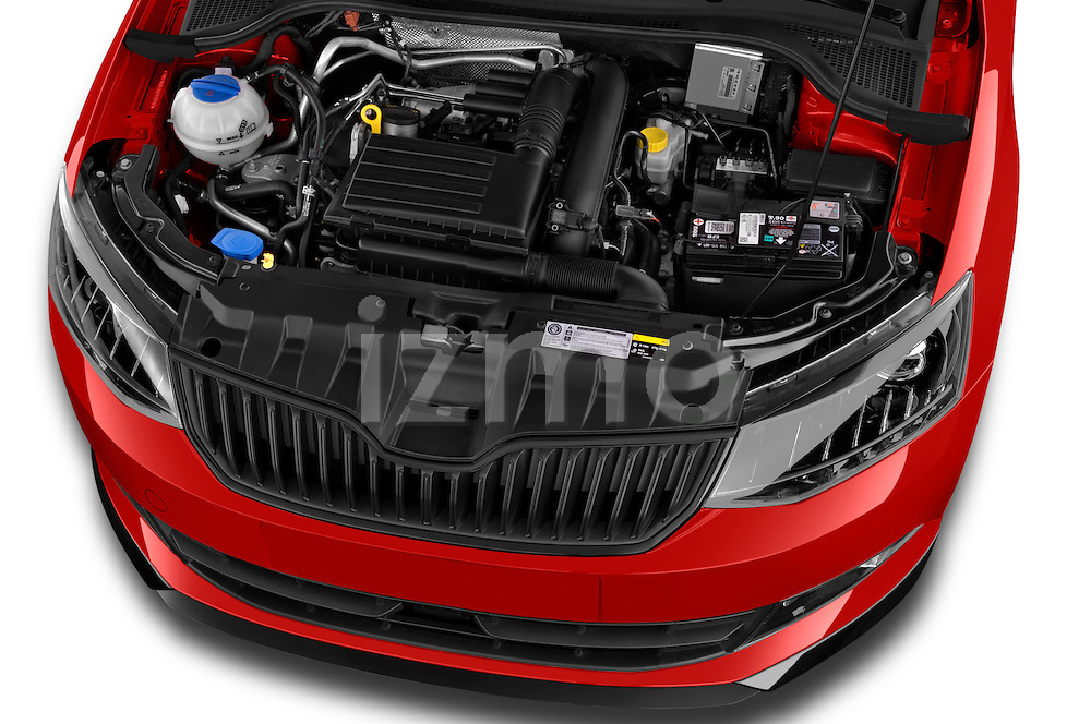 Car Stock 2016 Skoda Fabia Monte-Carlo 5 Door Hatchback Engine  high angle detail view