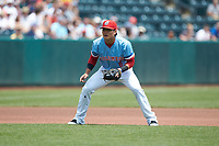 Columbus Clippers third baseman Yu Chang (6) on defense against the Indianapolis Indians at Huntington Park on June 17, 2018 in Columbus, Ohio. The Indians defeated the Clippers 6-3.  (Brian Westerholt/Four Seam Images)