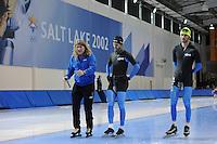 SCHAATSEN: SALT LAKE CITY: Utah Olympic Oval, 13-11-2013, Essent ISU World Cup, training, Peter Mueller (trainer/coach Team CBA), Tyler Derraugh (CAN), Frank Hermans (NED), ©foto Martin de Jong