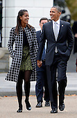 United States President Barack Obama walks with his daughter Malia Obama (L) across Lafayette Park to St John's Church to attend service in Washington, DC, USA, 27 October 2013.<br /> Credit: Shawn Thew / Pool via CNP