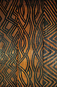 Xingu River, Brazil. Typical Assurini design on wooden panel in the Tataquara jungle lodge hotel.