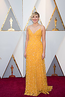 Greta Gerwig, Oscar&reg; nominee for directing and writing (original screenplay), arrives on the red carpet for the live ABC telecast of The 90th Oscars&reg; at the Dolby&reg; Theatre in Hollywood, CA on Sunday, March 4, 2018.<br /> *Editorial Use Only*<br /> CAP/PLF/AMPAS<br /> Supplied by Capital Pictures