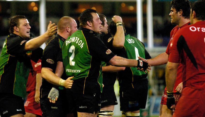 Photo: Richard Lane..Northampton Saints v Toulouse. Heineken Cup. 04/12/2004..Northampton celebrate victory.