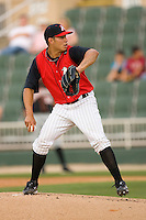 Starting pitcher Cameron Bayne #10 of the Kannapolis Intimidators in action against the Delmarva Shorebirds at Fieldcrest Cannon Stadium May 14, 2010, in Kannapolis, North Carolina.  Photo by Brian Westerholt / Four Seam Images