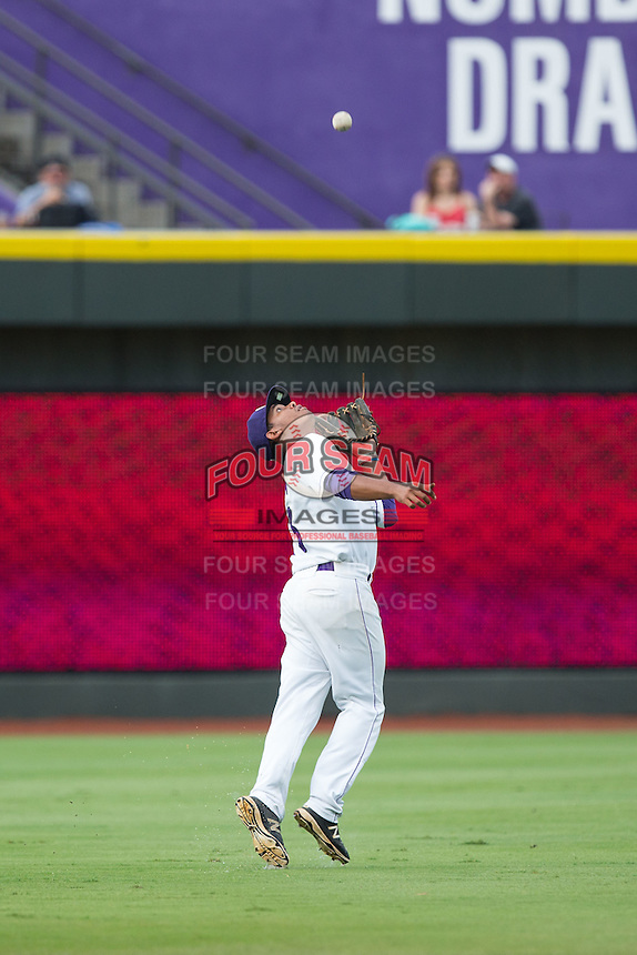 Winston-Salem Dash shortstop Cleuluis Rondon (13) catches a fly ball in shallow left field during the game against the Myrtle Beach Pelicans at BB&T Ballpark on July 7, 2016 in Winston-Salem, North Carolina.  The Dash defeated the Pelicans 13-9.  (Brian Westerholt/Four Seam Images)