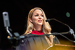 Allie LaForce delivers the Commencement Address at spring undergraduate commencement. Photo by Ben Siegel