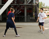 Matt Donovan (US - 7), (Carlson), Chris Kreider (US - 15) - Team USA warms up outside the rinks prior to their fourth game against Team Russia during the 2009 USA Hockey National Junior Evaluation Camp on Saturday, August 15, 2009, in Lake Placid, New York.