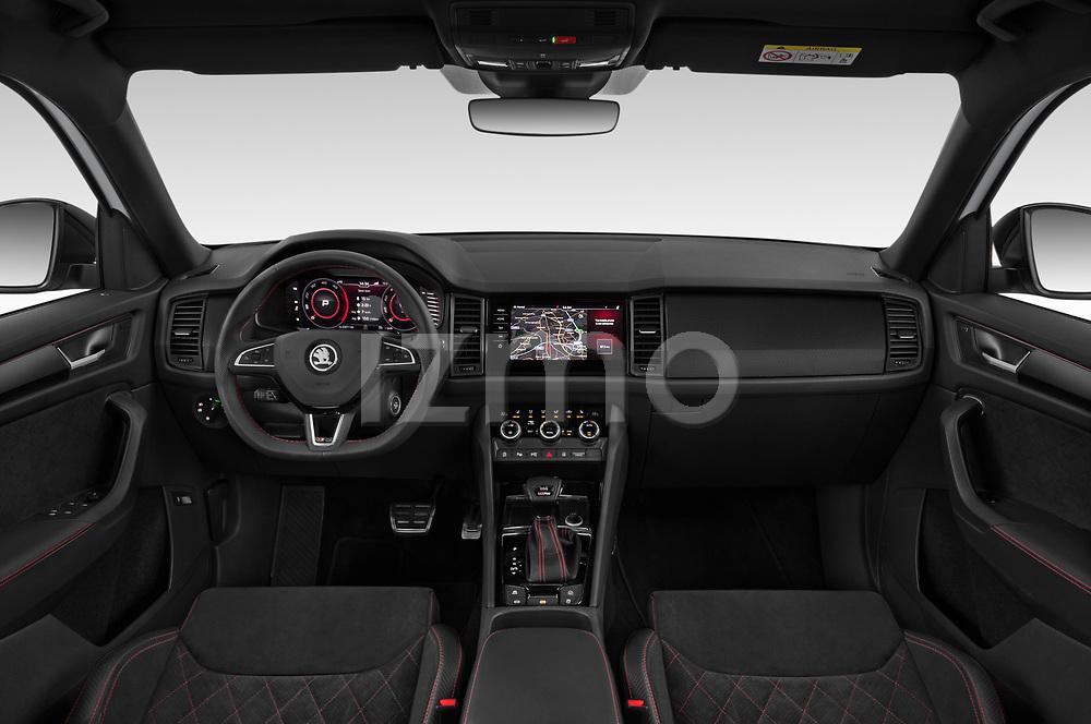 Stock photo of straight dashboard view of 2019 Skoda Kodiaq RS 5 Door SUV Dashboard