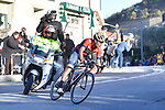 Vincenzo Nibali (ITA) Bahrain-Merida summits alone the Poggio di Sanremo during the 109th edition of Milan-Sanremo 2018 running 294km from Milan to Sanremo, Italy. 17th March 2018.<br /> Picture: LaPresse/Fabio Ferrari | Cyclefile<br /> <br /> <br /> All photos usage must carry mandatory copyright credit (&copy; Cyclefile | LaPresse/Fabio Ferrari)