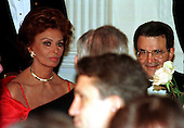 President Romano Prodi of Italy and actress Sophia Loren sit at their table during the Official White House Dinner in Washington, D.C. on May 6, 1998..Credit: Ron Sachs / CNP