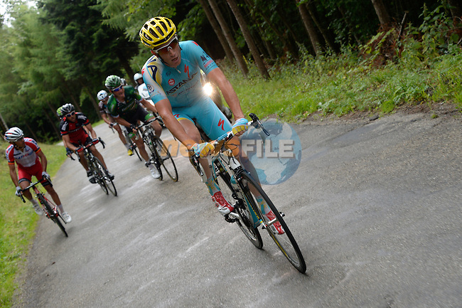 The breakaway group including Lieuwe Westra (NED) Astana, Thomas Voeckler (FRA) Europcar, Amael Moinard (FRA) BMC and Joaquim Rodriguez (ESP) Katusha during Stage 10 of the 2014 Tour de France running 161.5km from Mulhouse to La Planche des Bellles Filles. 14th July 2014.<br /> Photo ASO/B.Bade/www.newsfile.ie