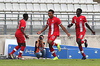 Thelonius Bair (No 17) celebrates scoring Canada's opening goal during Japan Under-21 vs Canada Under-21, Tournoi Maurice Revello Football at Stade Parsemain on 3rd June 2018