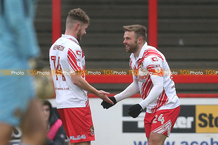 Matthew Godden of Stevenage (R) scores the first goal for his team and celebrates during Stevenage vs Newport County, Sky Bet EFL League 2 Football at the Lamex Stadium on 7th January 2017