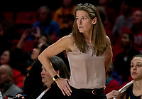 COLLEGE PARK, MD - DECEMBER 28: Kim Barnes Arico head coach of Michigan watches the action. during a game between University of Michigan and University of Maryland at Xfinity Center on December 28, 2019 in College Park, Maryland.