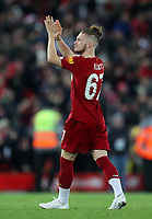 30th October 2019; Anfield, Liverpool, Merseyside, England; English Football League Cup, Carabao Cup, Liverpool versus Arsenal; Harvey Elliott of Liverpool applads the supporters on the Kop after Liverpool's penalty shoot out win - Strictly Editorial Use Only. No use with unauthorized audio, video, data, fixture lists, club/league logos or 'live' services. Online in-match use limited to 120 images, no video emulation. No use in betting, games or single club/league/player publications