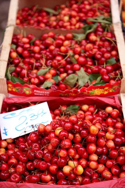 Fresh cherries, Palermo food market, Sicily
