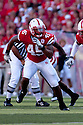 04 Sep 2010: Nebraska linebacker Alonzo Whaley following the play against Western Kentucky Hilltoppers in the second quarter at Memorial Staduim in Lincoln, Nebraska. Nebraska defeated Western Kentucky 49 to 10.