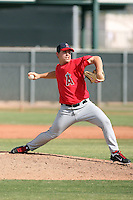 Steven Geltz #71 of the Los Angeles Angels plays in a minor league spring training game against the Colorado Rockies at the Angels minor league complex on March 18, 2011  in Tempe, Arizona. .Photo by:  Bill Mitchell/Four Seam Images.